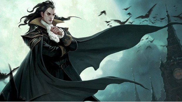 Illustration, male vampire and bats in background