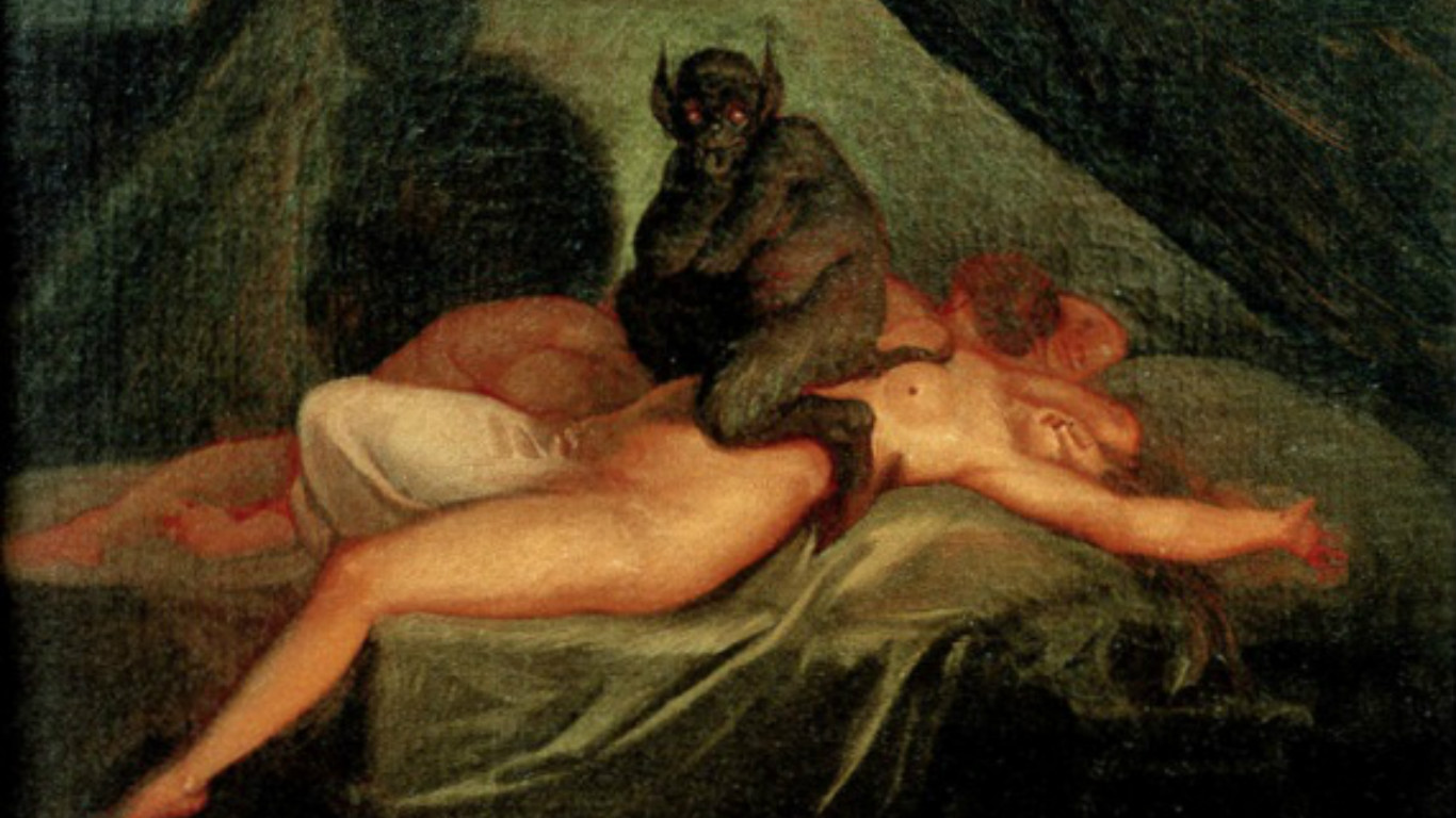Illustration of demon sitting on naked woman