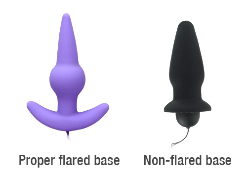 One butt plug with a flared base. One anal plug without a flared base.