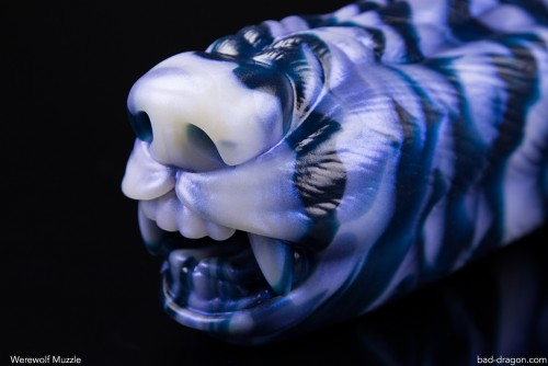 Bad Dragon werewolf muzzle masturbator in blue tones