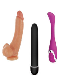 Three different kinds of dildos and vibrators