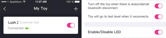 Vous pouvez allumer/éteindre les LED de l'antenne de Lush 2ème Gen via l'application Lovense Remote.
