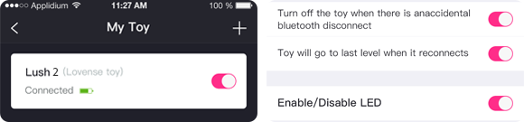 You have the option to enable/disable the LED light on Lush 2nd Gen antenna when using the Lovense Remote app.
