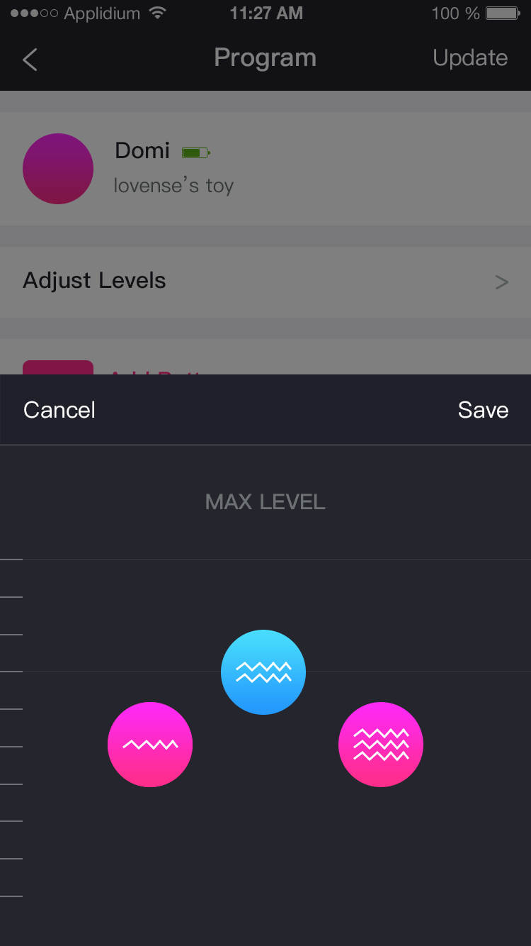 The Lovense Remote app screenshot: 3 Steady Levels