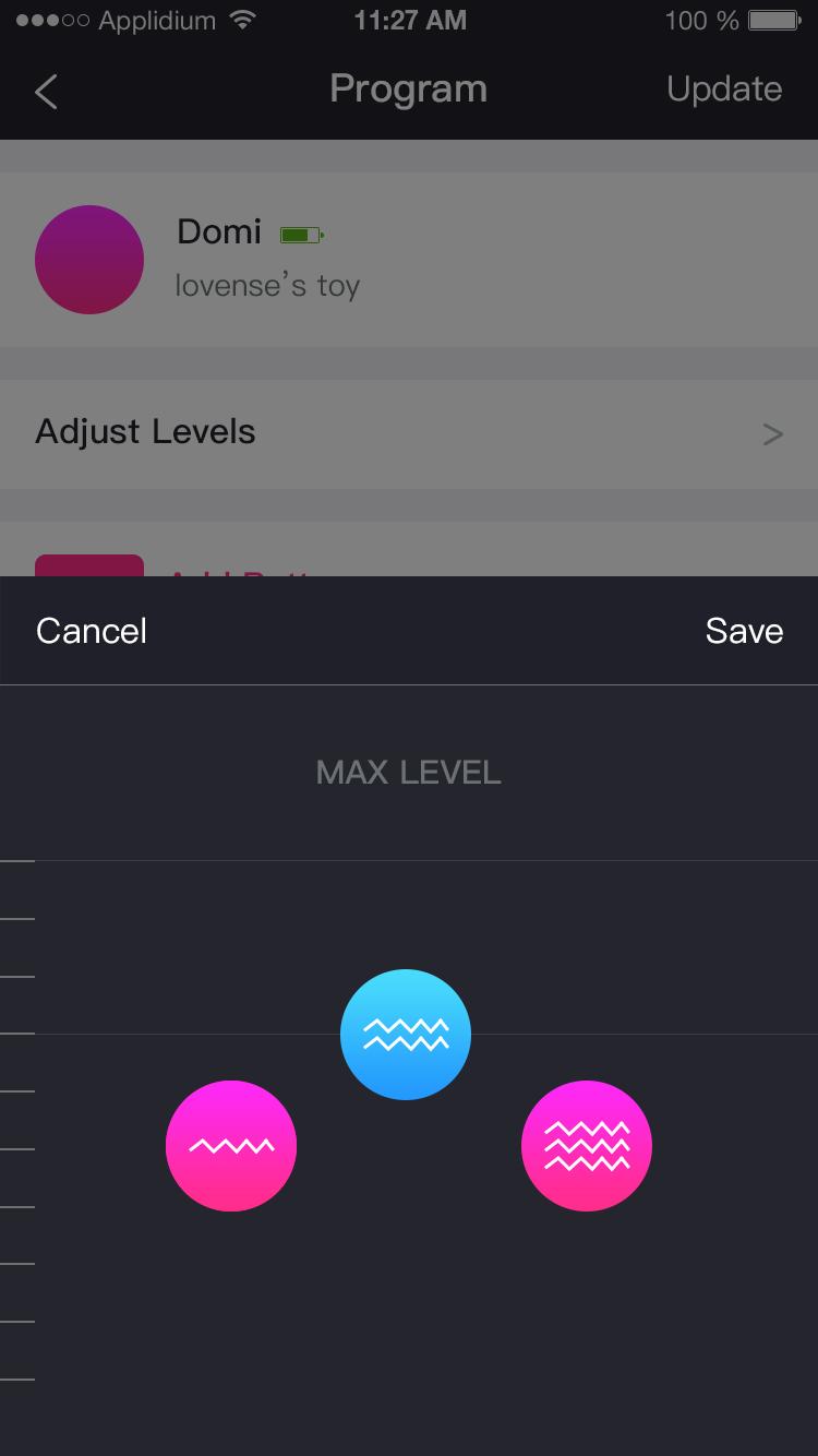 Screenshot de l'application Lovense Remote: 3 niveaux de stabilités.