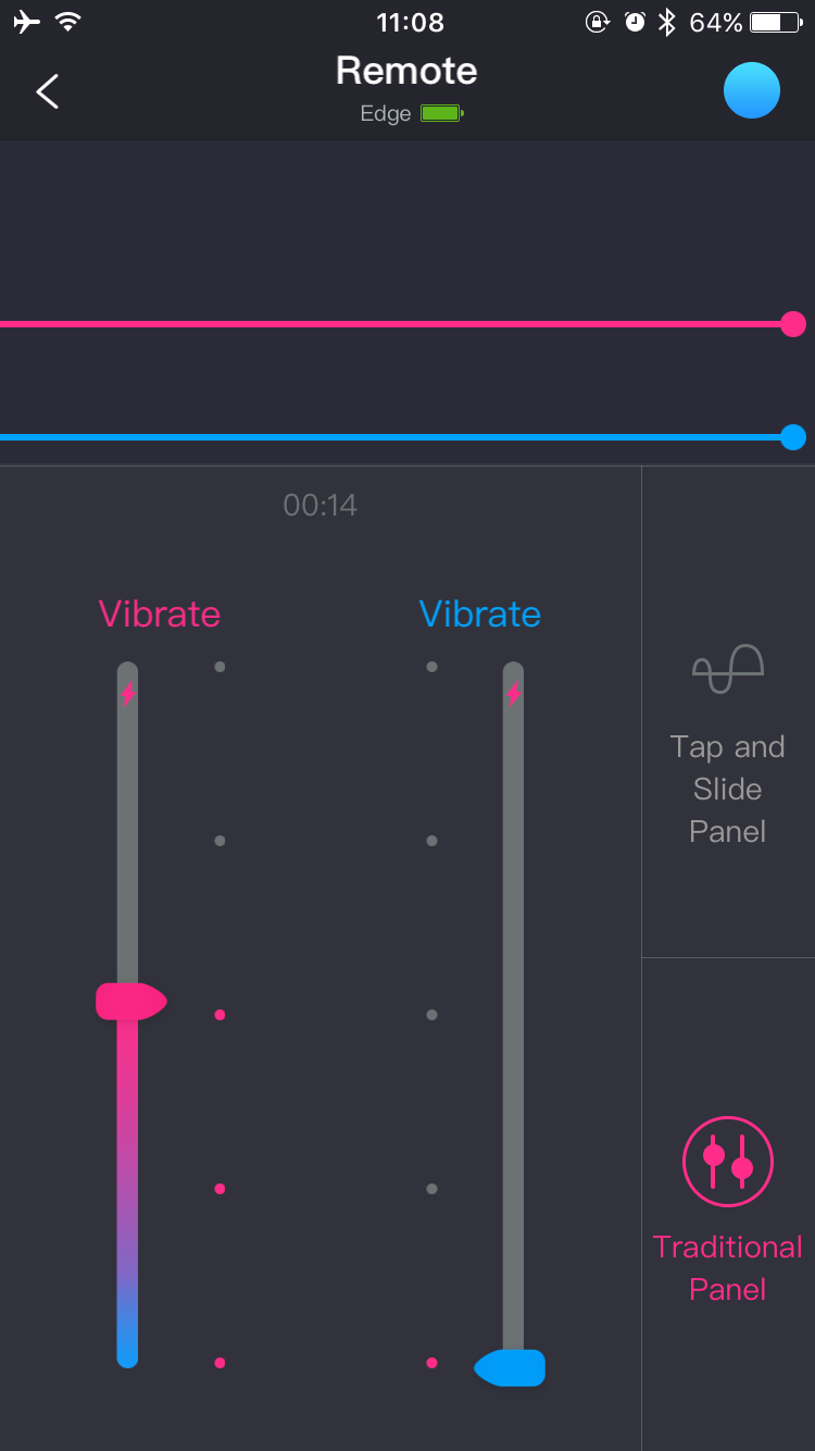 Screenshot de l'application Lovense Remote : Sauvegarder jusqu'à 10 modèles de vibrations.