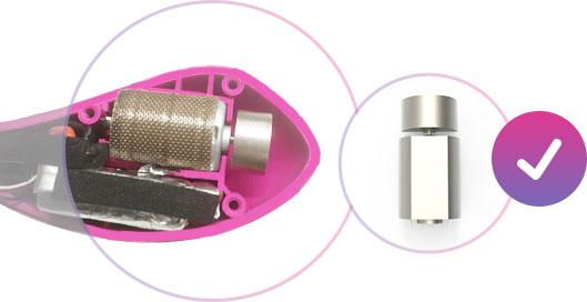 Structure interne de l'œuf vibrant Lush, montrant la puissance du moteur