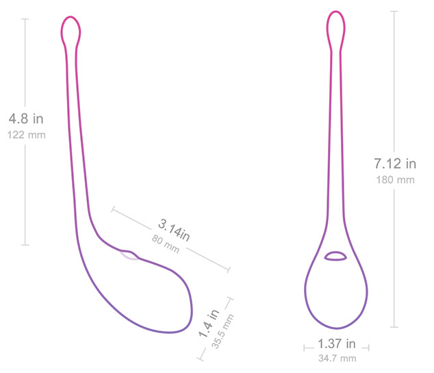 Lush egg vibe measurement details.