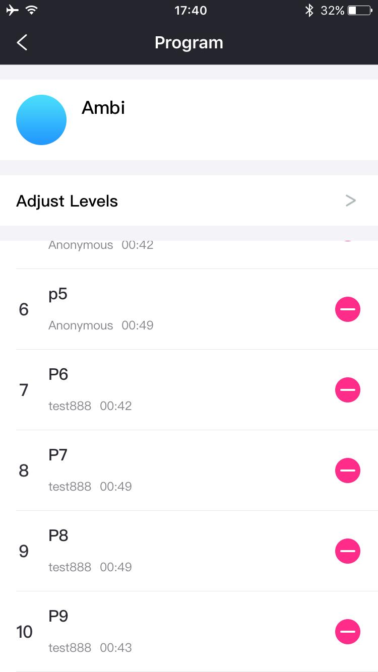 Captura de pantalla de Lovense Remote: hasta 10 patrones.