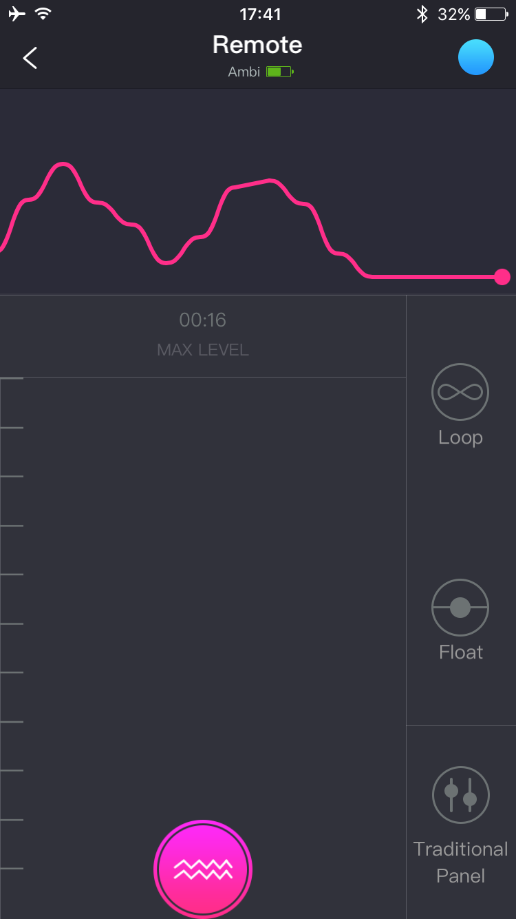Screenshot de l'application Lovense Remote : Écran de contrôle de la vibration, appuyer et glisser.