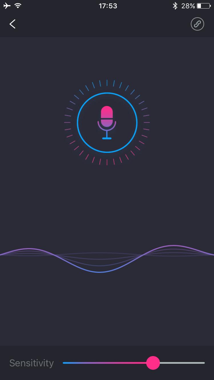 Скриншот приложения Lovense Remote: звуковой режим.