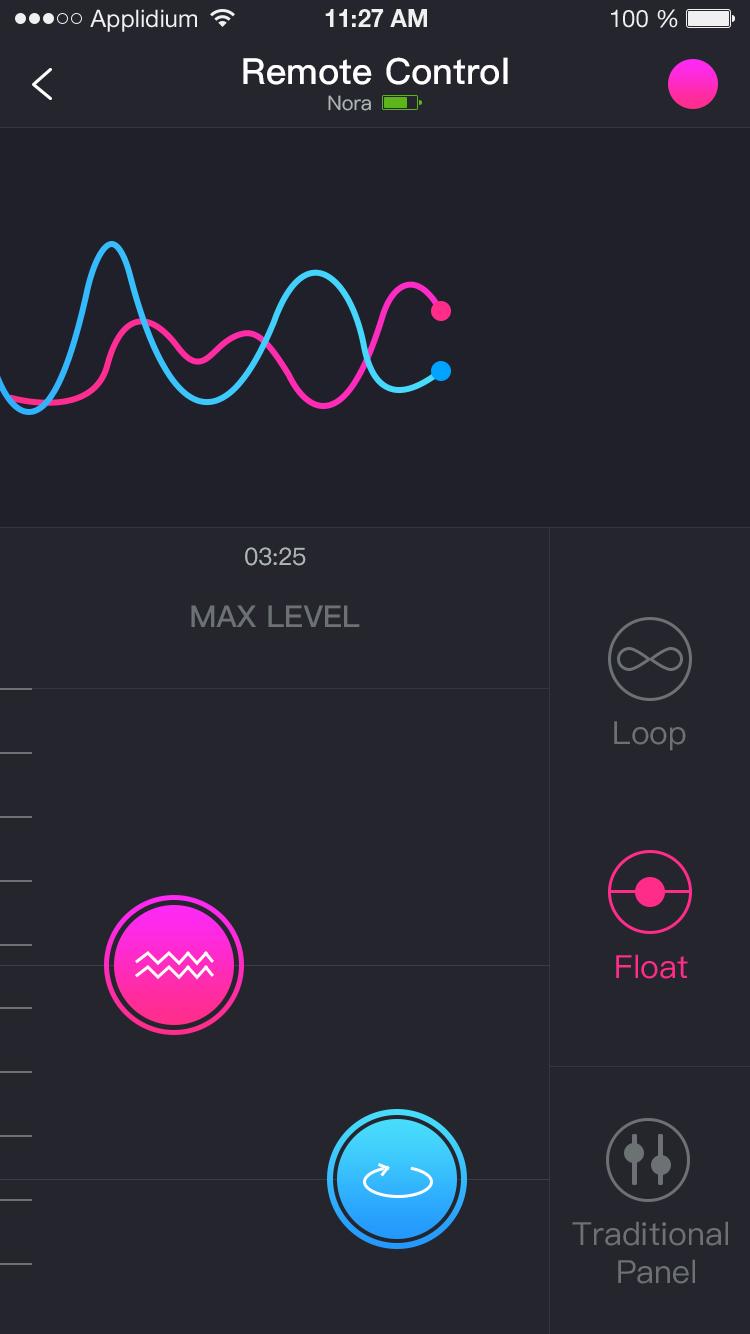 Captura de Pantalla de Lovense Remote: Control remoto deslizante.